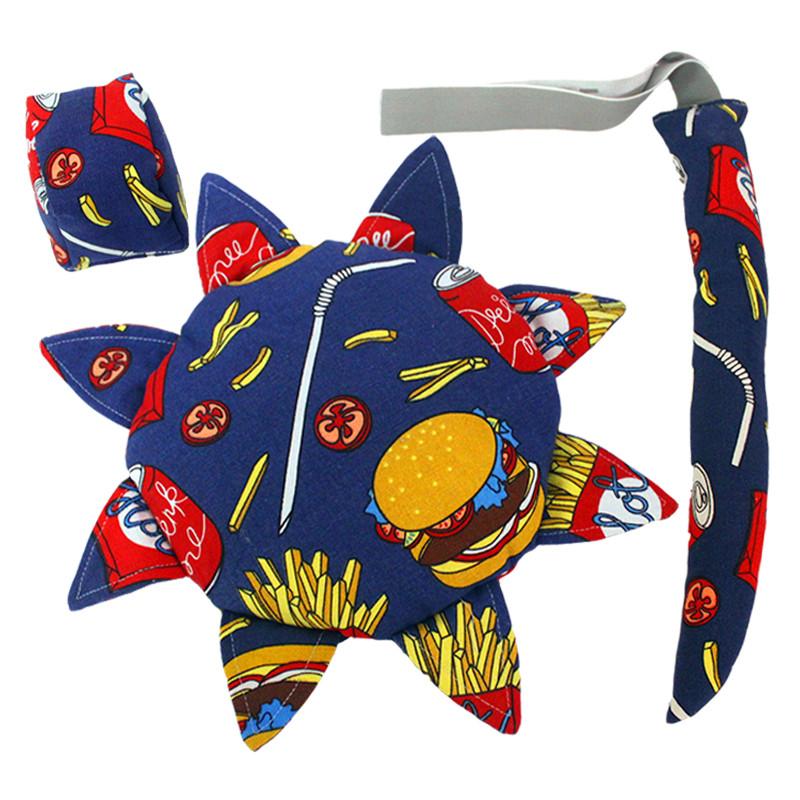 儿童户外安全软飞盘 幼儿园手工布艺沙包尾巴三件套户外运动玩具 格子