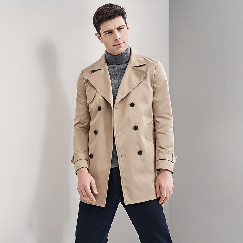 七匹狼風衣 2018新款中青年商務休閑翻領中長款大衣外套男裝圖片