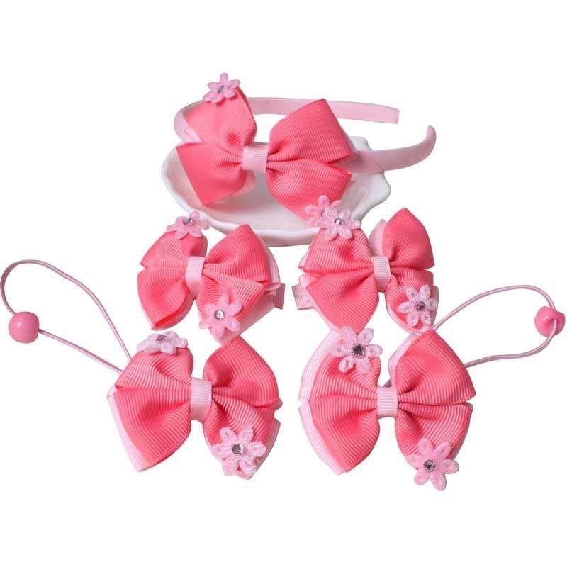 咔米嗒 韩版新款公主发箍头饰套装 可爱宝宝女童发夹发绳头饰品唯爱粉