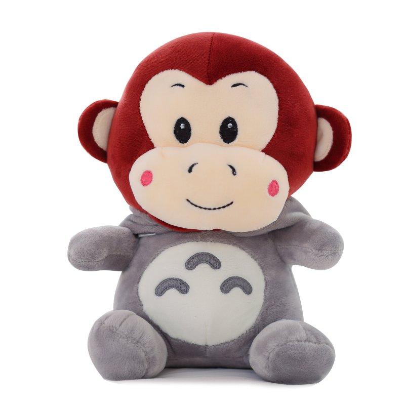 变身玩偶小娃娃礼物 生日礼物女生 龙猫变身呆萌猴-酒红色30cm