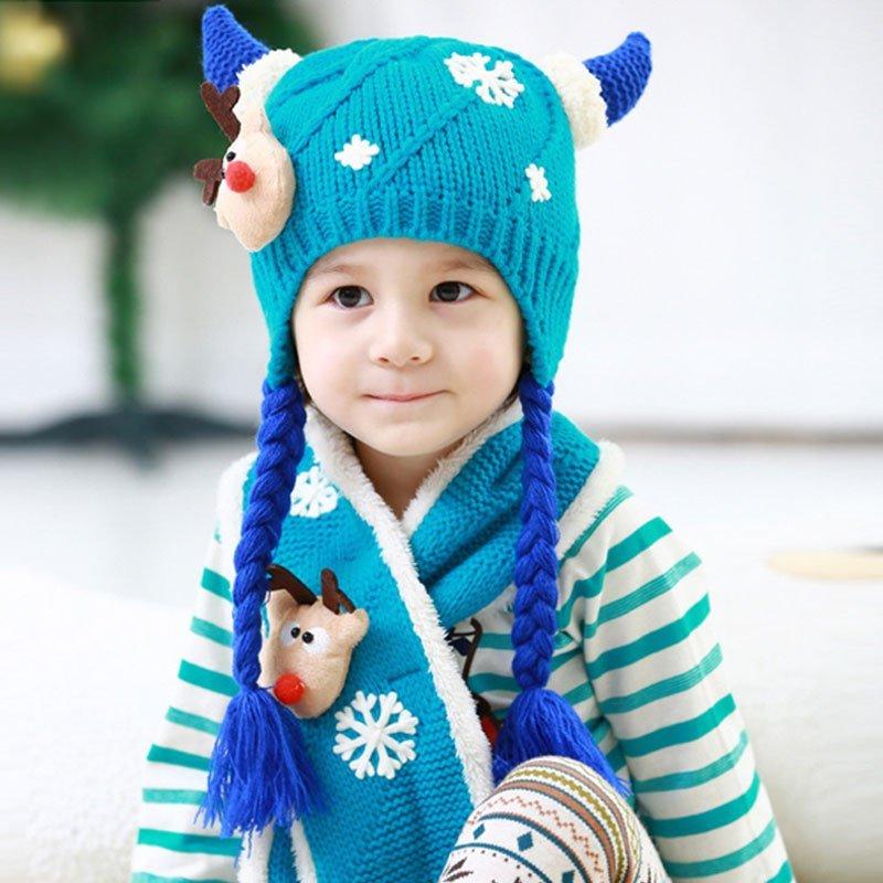 叶子宝宝 婴儿帽子秋冬 宝宝加绒套头帽毛线帽潮 护耳