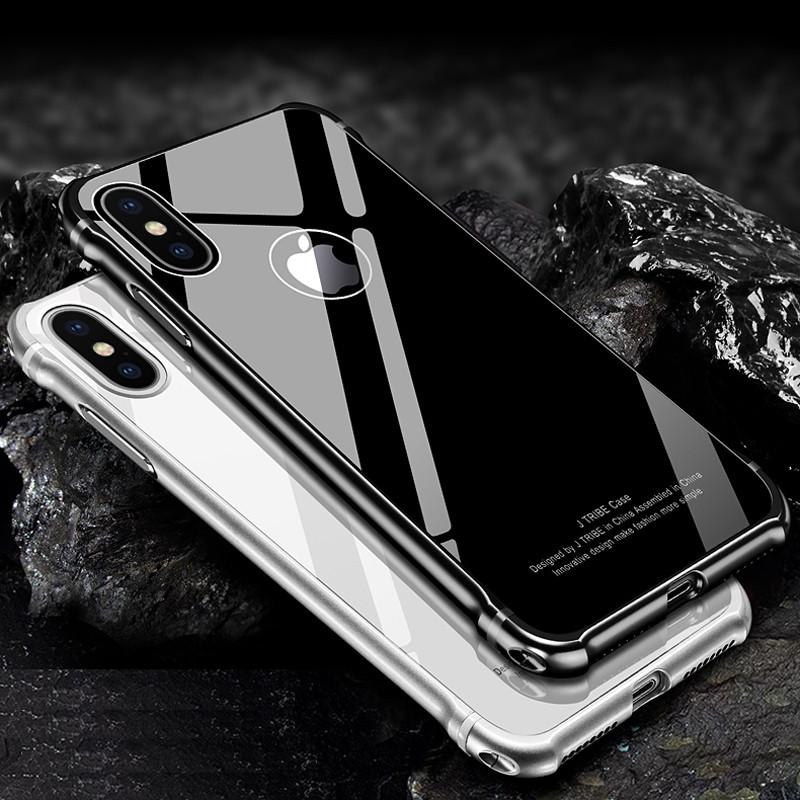 魅爱琳 iphonex/苹果10/苹果x手机壳 金属边框钢化后盖 5.
