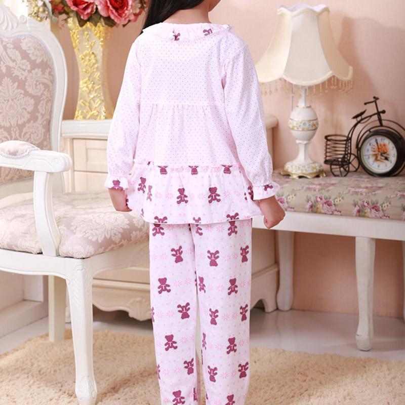 时尚可爱小熊卡通儿童睡衣套装 长袖针织棉休闲睡衣家居服套装5600
