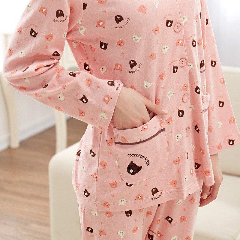 茵珠丽yinzhuli春秋季新款纯棉韩国可爱时尚小熊卡通长袖情侣睡衣