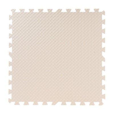 明德樹葉紋泡沫地墊兒童爬行墊臥室客廳防滑墊方塊拼接地墊可裁剪大號60*60加厚(米色1片)