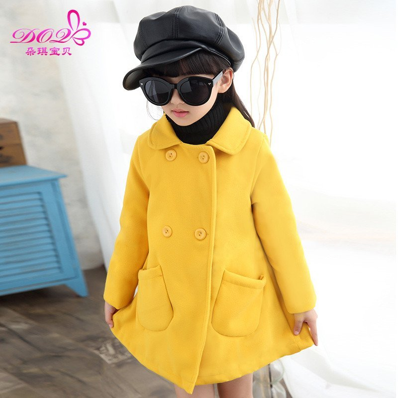 童装冬装2015新款女童呢大衣外套中大儿童时尚双排扣风衣加厚开衫