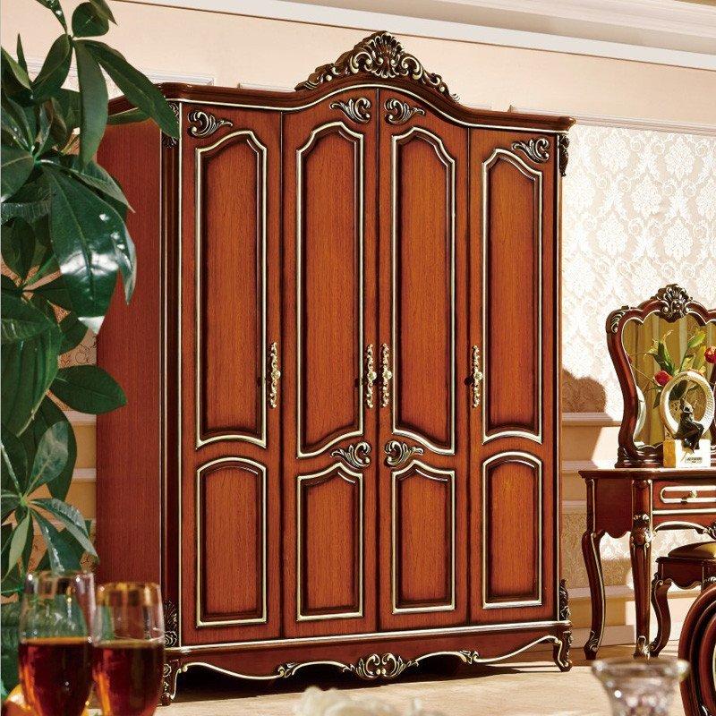 欧施洛 衣柜实木衣柜欧式衣柜美式古典衣柜定制衣柜四门衣柜大衣柜图片