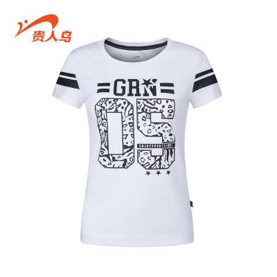 贵人鸟女装短袖运动t恤夏季运动服图案数字女针织圆领