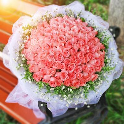 五二零 99朵戴安娜粉玫瑰花束 表白求婚生日鮮花禮物預定 北京石家莊上海鮮花速遞廣州深圳成都重慶花店同城送花