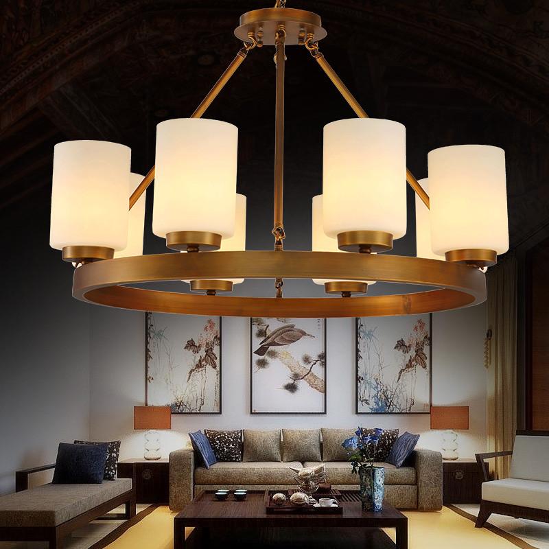 月影凱頓全銅新中式吊燈簡約現代客廳燈具美式餐廳燈復古臥室燈飾
