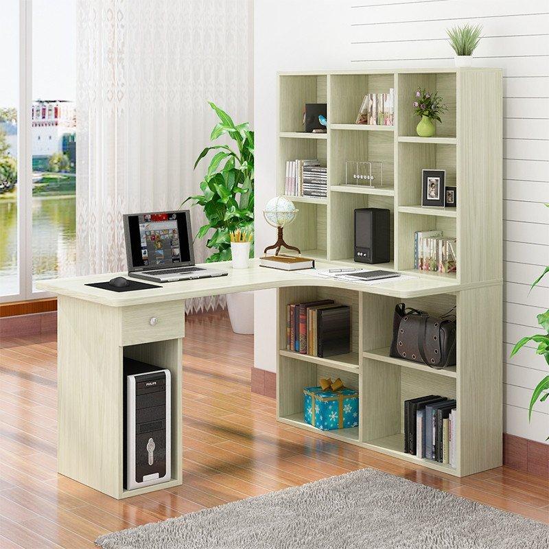 昕泰阳家具 现代简约转角电脑桌书桌书柜书架组合 转角书柜 电脑桌图片
