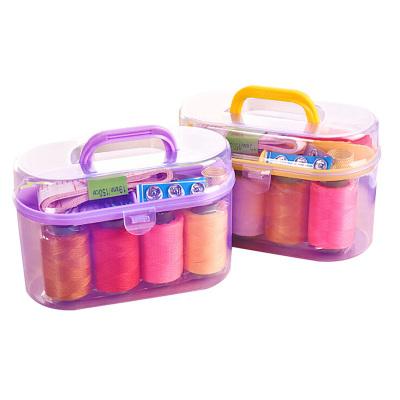 乾越(qianyue)便携迷你针线盒套装家用针线缝补针线包收纳工具整理箱十件套