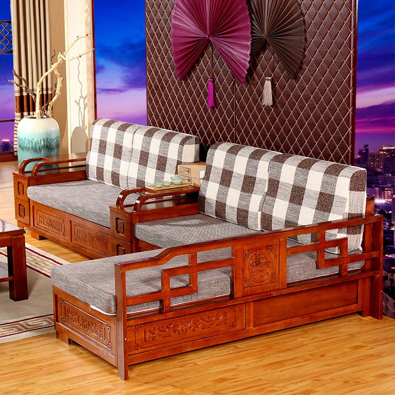 茂彩 实木沙发组合 水曲柳新中式实木沙发 贵妃转角全图片