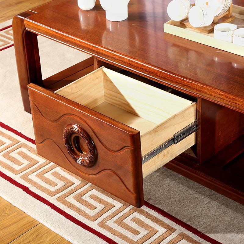 茂彩 现代中式电视柜茶几组合 金丝胡桃木客厅家具 简约储物茶桌 客厅
