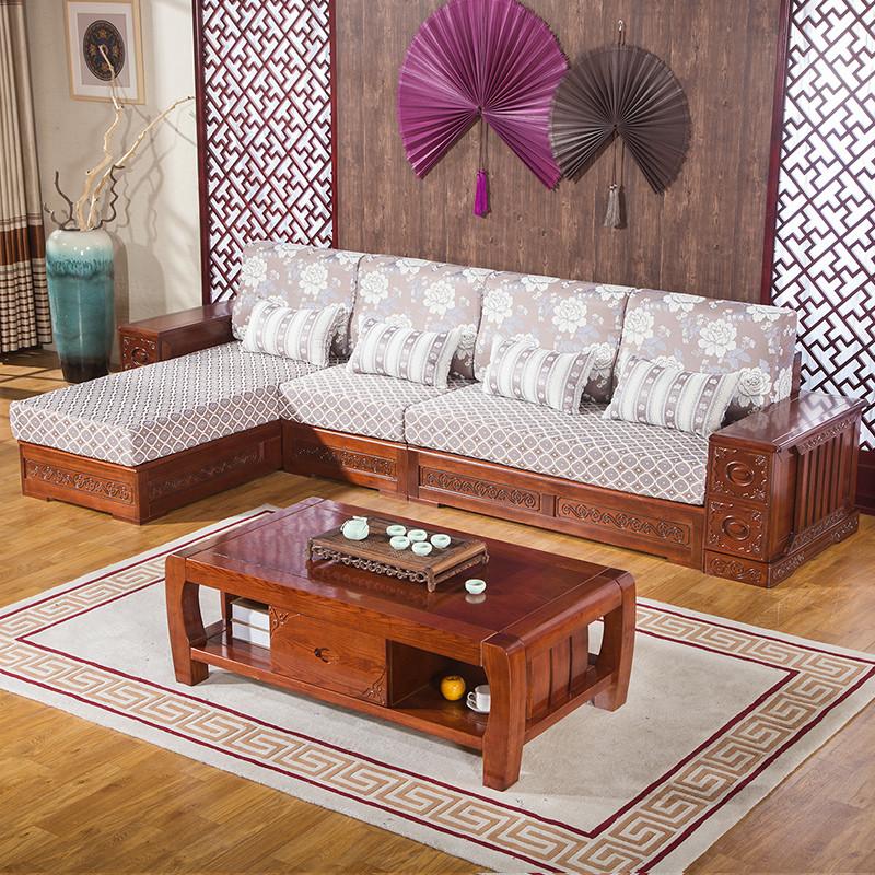 冬夏两用现代中式实木沙发水曲柳 木质沙发 客厅布艺沙发组合