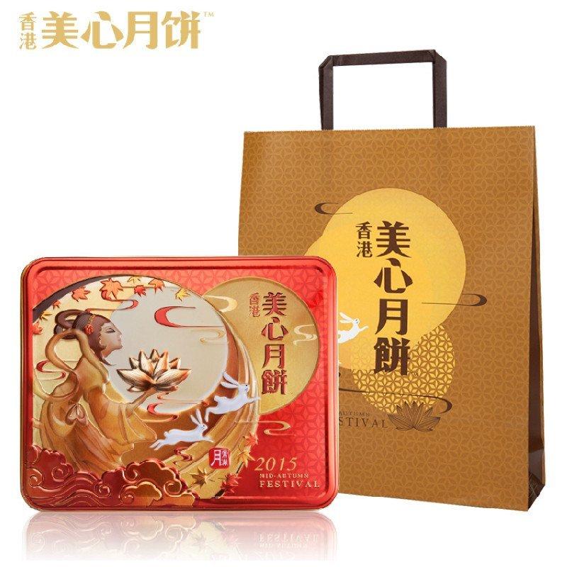 美心双黄莲蓉月饼礼盒740g 香港美心月饼 2017中秋节月饼礼品礼盒团购