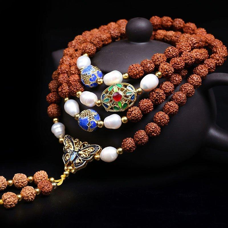 月印百川金刚菩提108颗手串多圈景泰蓝 珍珠手链