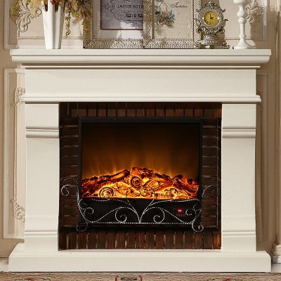 帝軒名典 1.5米歐式壁爐裝飾柜 簡約美式實木壁爐架 裝飾取暖芯