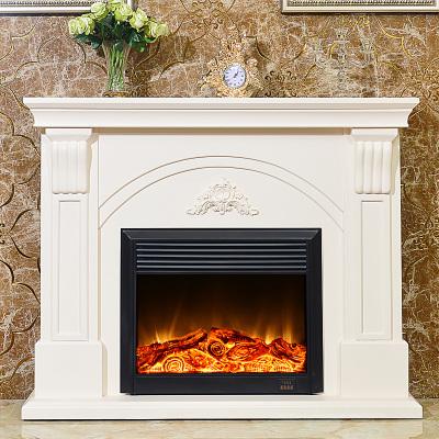 帝轩名典 1.5米欧式壁炉架 美式简约象牙白实木壁炉柜