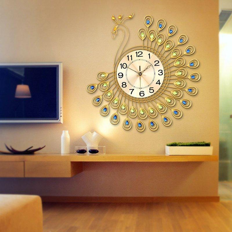 久久达 孔雀创意静音挂钟 现代时尚欧式客厅钟表 大号