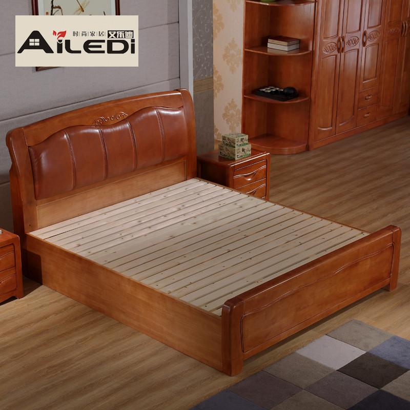 艾乐迪 实木床 简约现代中式床 真皮软靠实木床 1.5橡木床 1.