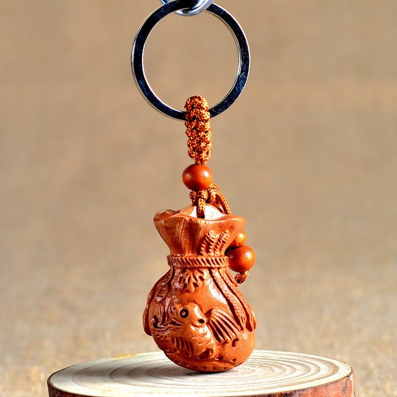 桃木钥匙扣批发 钱袋汽车钥匙扣挂件 小蝙蝠钥匙链礼品