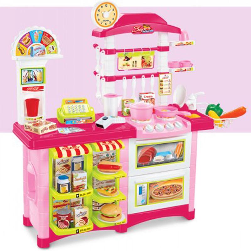 贝比谷儿童过家家玩具豪华大厨房6663e粉色款图片
