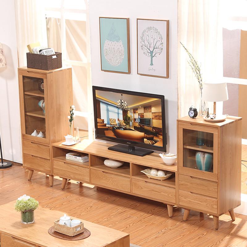 品尚美家 实木电视柜组合柜北欧原木三抽.图片