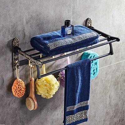 裕浴(YUCOGO)置物架仿古太空鋁毛巾架衛生間掛件雙杯架馬桶刷紙巾架肥皂架五金套裝浴室復古黑色雙層浴巾架