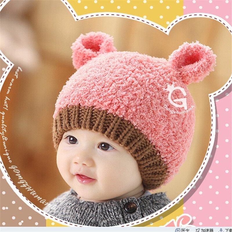 新款儿童毛线帽子 韩版男女宝宝护耳保暖针织帽秋冬季