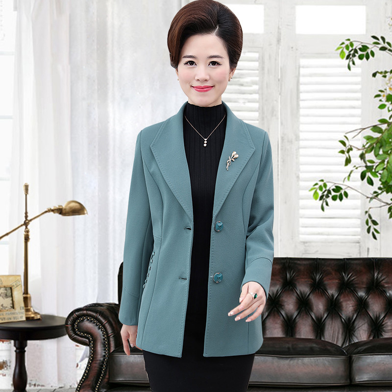 中年女裝冬裝外套媽媽裝毛呢中老年人秋冬40歲50加厚短款風衣圖片