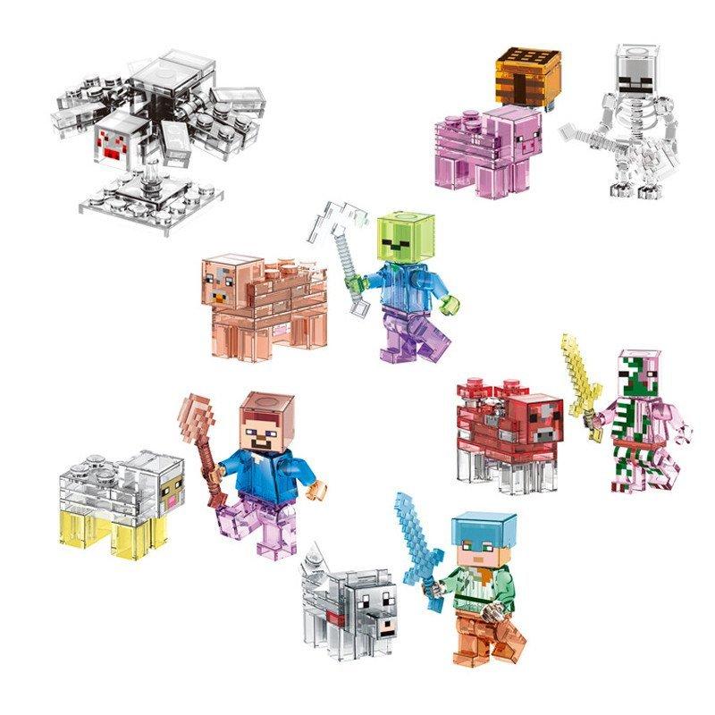 木有人 我的世界 益智拼装 塑料小颗粒 水晶人偶公仔 积木玩具 绿头