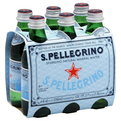 S.Pellecrino 圣培露 含氣天然礦泉水 氣泡水 250ml*6玻璃瓶 意大利進口