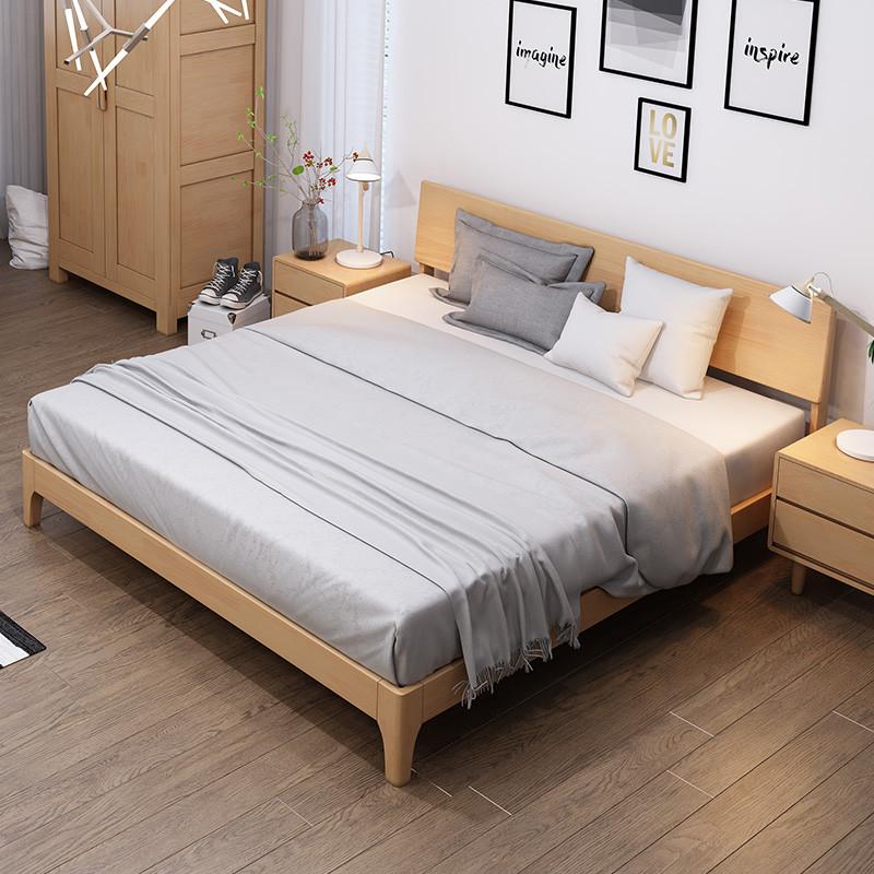 8北欧简约卧室大床1.5米原木简易木床