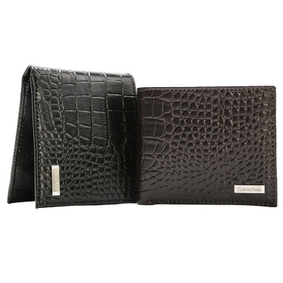 卡尔文·克莱恩Calvin Klein男士钱包CK男士短款商务经典鳄鱼纹钱包钱夹两折