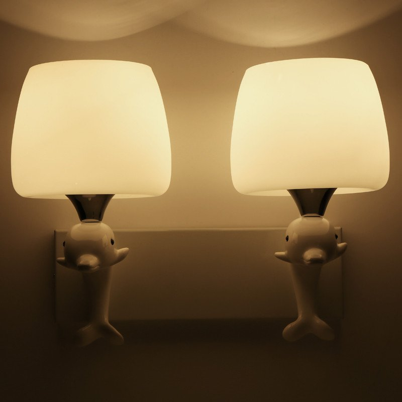 凯晶堡灯饰现代简约欧式田园白色壁灯客厅卧室海豚壁灯床头灯832图片