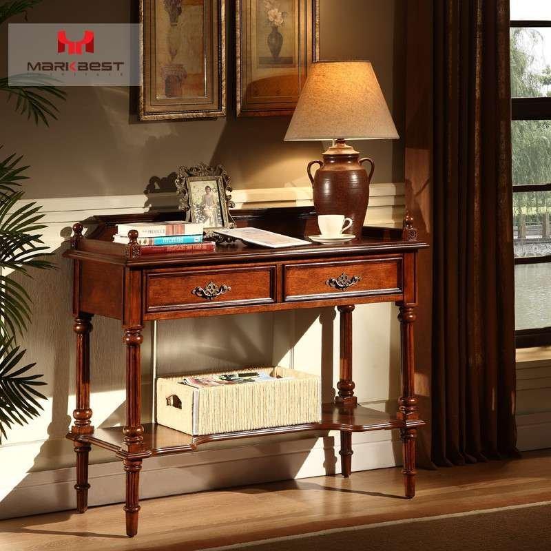 品之印家具 美式简易书桌转角实木办公桌子写字台简约