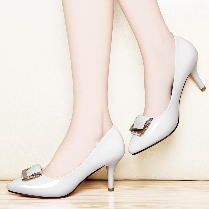 百年纪念高跟鞋2017夏季新款细跟清凉单鞋女士浅口休闲工作女鞋利德
