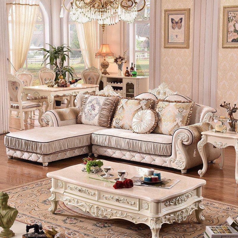 拉菲伯爵 沙发 欧式沙发 布艺沙发组合 转角沙发 小户型客厅法式田园