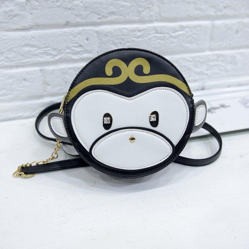 爱洛戈特 2016夏新款小猴子可爱包包卡通圆形包小单肩包迷你新款韩版