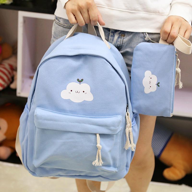 爱洛戈特 新款印花卡通云朵双肩包韩版可爱帆布中学生