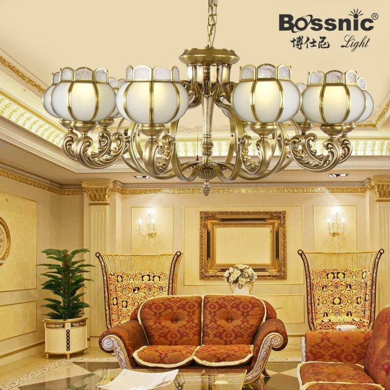 欧式吊灯全铜客厅灯具 客厅筒灯 卧室吊灯 中式全铜客厅吊灯欧式阳台