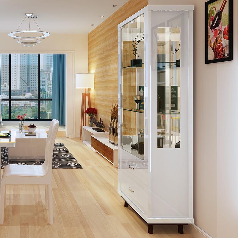 一米爱客厅酒柜展示柜现代简约储物柜餐边柜收纳柜板式玻璃酒柜yma