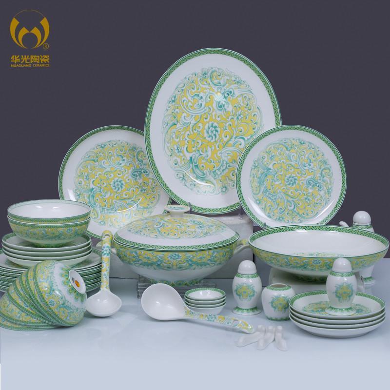 华光陶瓷 敦煌凤舞骨瓷餐具套装 62头礼盒装图片