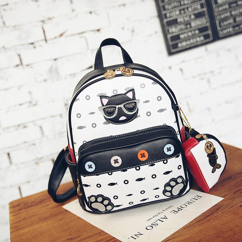 迪嘉乐韩版可爱猫咪头像儿童双肩包时尚女童小书包幼儿园宝宝迷你背包