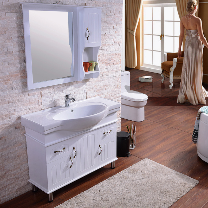帝宏实木落地浴室柜组合 现代简约洗手洗脸洗漱池台盆