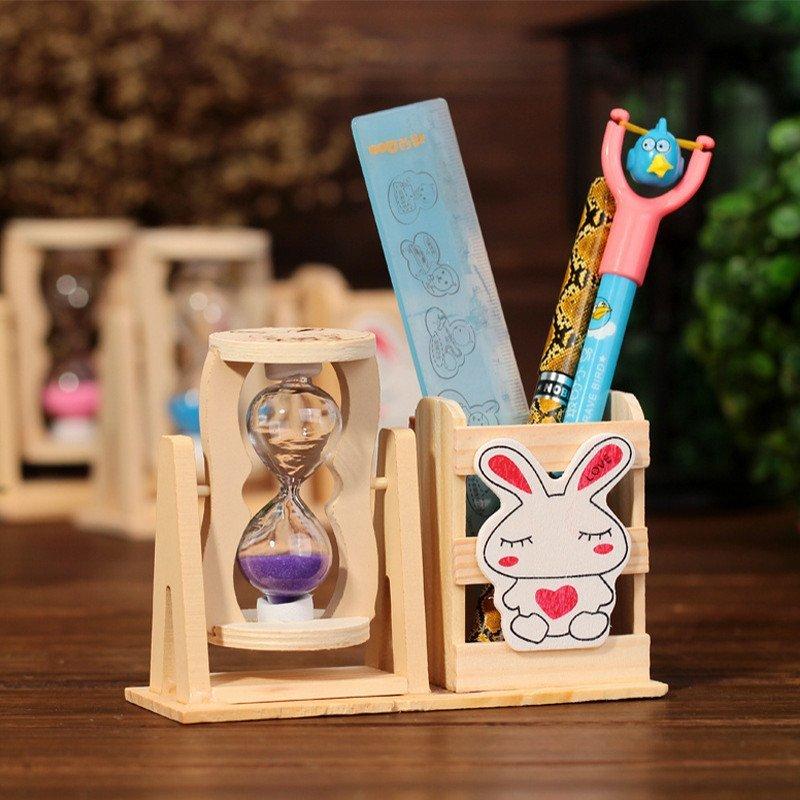 绎美 创意沙漏礼品 笔筒沙漏 单泡双泡三泡流沙笔筒沙漏 手工制作木制