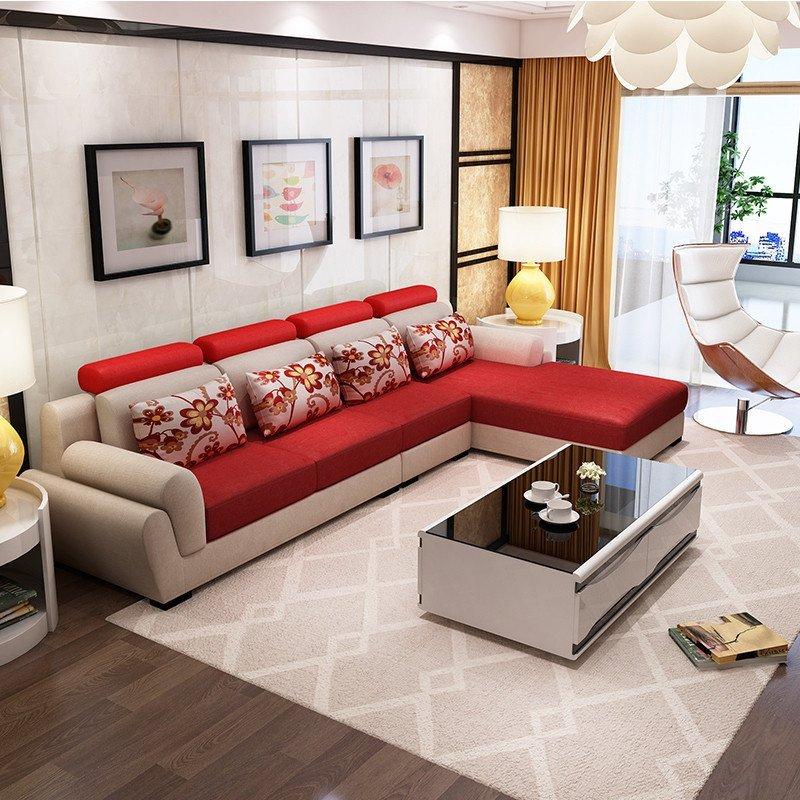 西来古镇布艺沙发 简约现代小户型沙发 转角组合沙发新款可拆洗沙发
