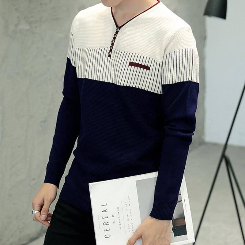 2018秋冬新款男士针织衫韩版修身v领针织衫男装保暖毛衣qt715a-8970