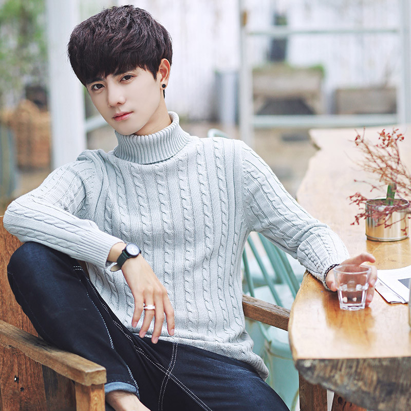 x-man2018春季新款男士毛衣修身高领毛衣韩版针织衫青年毛线衣提花